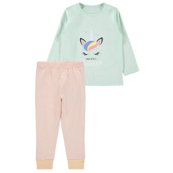 Name It meisjes pyjama Nmfnightset Spray groen/roze